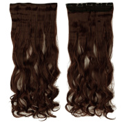 70cm Curly One Piece Clip in Hair Extensions (5 Clips) Dark Auburn Clip Ins Hairpiece for Women Lady Girl