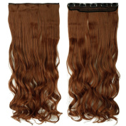 70cm Curly One Piece Clip in Hair Extensions (5 Clips) Light Auburn Clip Ins Hairpiece for Women Lady Girl