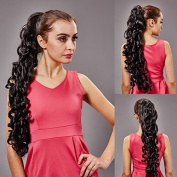 Enjoydeal 64cm Long Big Wavy Ponytail Wigs Party Curly Hairpiece Extension Black