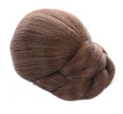 Mid Brown Clip on Hair Bun | Braided Effect | Natural Blended Caramel Highlights