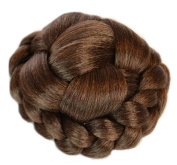 Mid Brown Clip on Hair Bun | Criss Cross Lattice Effect | Natural Blended Caramel Highlights