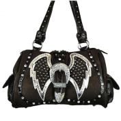 Coffee Rhinestone Angel Wings Buckle Leather Shoulder Handbag Purse 0833