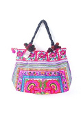 White Flowers Hill Tribe Tote Bag Hmong Embroidered Ethnic Thai Fair Trade