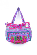Purple Orchids Hill Tribe Tote Bag Large Size Made by Hmong Embroidered Fair Trade
