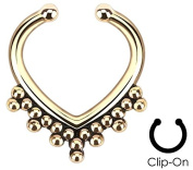 Gold Plated Bead Trim - Non-Piercing Fake Septum Clip - Pierced & Modified Body Jewellery