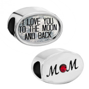 """Pugster """"I Love You To The Moon and Back"""" Mum Mother Red Crystal Rhinestone Charm Beads Sale fit Pandora Bracelet"""