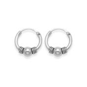 Sterling Silver SMALL Bali Hoop earrings, ball & twists - Size - Small
