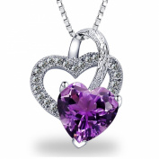 Gilind 925 Sterling Silver purple heart amethyst necklace for women + gift box