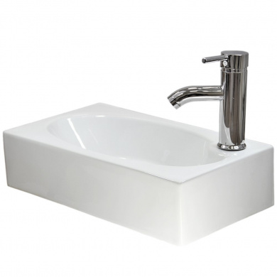 Small Bathroom Sink Compact Rectangle Cloakroom Basin Wall Hung White Ceramic Modern Free Tap