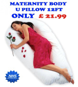 3.7m U / V BODY MATERNITY / PREGNANCY PILLOW SUPPORT BACK, NURSING, FEEDING
