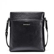 Men's Messenger Shoulder School Bag Cross Body Bag Black Genuine Top Leather