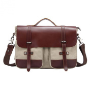 Win8Fong Men's Canvas Vintage Crazy Horse Leather Satchel Shoulder Messenger Bag Crossbody Bag