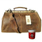 BARON of MALTZAHN Top handle bag - Doctor's bag GALAHAD brown leather incl. Leather Care