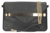 Fidora Metal Bar Pu Leather Envelope Ladies Evening Smart Clutch Bag