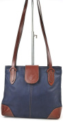 Genuine Italian Soft Leather Two Compartments Medium Long Handle Shoulder Bag in Navy
