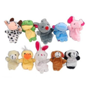 Carejoy (TM) 10 Pieces Finger Hand Puppet Puppets Prop Toy Doll Cartoon Animal Shape Style Rabbit Bear Hippo Cow Mouse Panda Frog Duck Elephant Dog