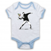 Inspired by Banksy Man Throwing Flowers Graffiti Street Art Unofficial Baby Grow
