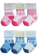 Baby Girl Boy Pink Blue 3 pairs set socks Soft Touch Love Mum Dad