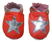 Soft leather baby shoes red with silver stars