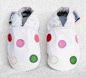 Soft leather baby shoes white with multi-coloured spots