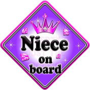 GEM JEWEL NIECE Baby on Board Car Window Sign