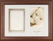 Anika-Baby BabyRice Baby Handprint Footprint Kit Soft White Clay Dough Dark Wood Box Photo Display Frame