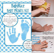 Baby Hand & Footprint Inkless Wipe Keepsake Kit Blue Prints by BabyRice