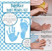 Baby Hand & Footprint Inkless Wipe Keepsake Kit Blue Prints by BabyRice