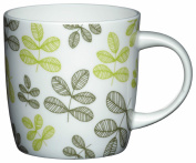 Kitchen Craft Mugs Fine Bone China Leaves Barrel Mug, Green