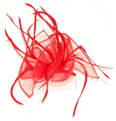 Large Red looped fabric and Feather Fascinator on a clear comb.
