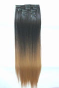 60cm Full Head Clip in Hair Extensions Ombre Straight Dip Dye 6 Pcs Natural black to dark blonde