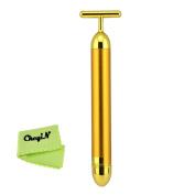 Ckeyin ® 24K Gold Plated T-Shaped Beauty Bar Facial Roller Massage - Waterproof