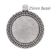 20pcs/lot Antique Silver Plated Blank Pendant Trays fit 25mm Round Cabochon-Jewellery Makings