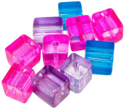 Linpeng Purple Pink and Blue Plastic Cube Beads 7mm 0.2kg Per Bag