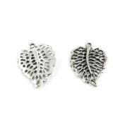 20 Pieces Wholesale Supplies Ancient Silver Fashion Jewellery Making Charms Findings W-12958 Hollow Leaf Pendant Craft DIY Vintage Alloys Necklace Bulk Supply Accessoires