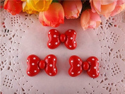 10pcs/lot Red Bow Polka Dot Resin for Bows, Flat Back Resin Cabochons for Hair Bows Cellphone Cases Crafts Decorations and Scrapbooking