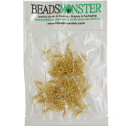 Wholesale Lot of Earring Hooks with Beads for Jewellery Findings, Golden Colour