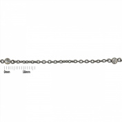 Sterling Silver Black Diamond Plated 4.0mm Bezel Set Aquamarine Connector Link Cable Chain. Sold as - 1.5m per pack