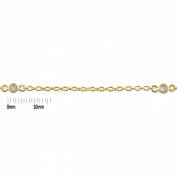 Sterling Silver 18 Karat Gold Plated 4.0mm Bezel Set Rainbow Moonstone Connector Link Cable Chain. Sold as - 1.5m per pack