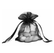 100pcs Black Organza Drawstring Pouches Jewellery Party Wedding Favour Gift Bags 10cm x 15cm