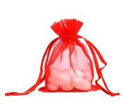 100pcs Red Organza Drawstring Pouches Jewellery Party Wedding Favour Gift Bags 10cm x 15cm