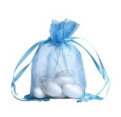 100pcs Light Blue Organza Drawstring Pouches Jewellery Party Wedding Favour Gift Bags 10cm x 13cm