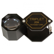 HTS 203C0 20x 21mm Black Triplet Hex Loupe With Leather Case