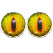 25 Mm Glass Cabochon , Green Goat Eyes ,1pair for Prop Building , crafting , jewellery