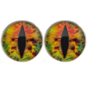 25 mm Glass Cabochon , Earth Brown Dragon Eyes ,1 pair for Prop Building , crafting , jewellery