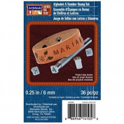 Art Minds Leather Alphabet & Number Stamp Set 1/8 in / 6 mm. 36 Pc