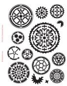 Ornamental Gears Stencil - 22cm x 28cm