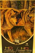 Puzzle 500 Piece HD Wolf Pair In The Woods