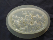Qty-2 Lily Flower Oval Bar Soap or Plaster Mould 4532