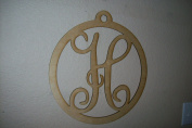 Unfinished Wood Vine Monogram Round Frame in 44cm X 44cm